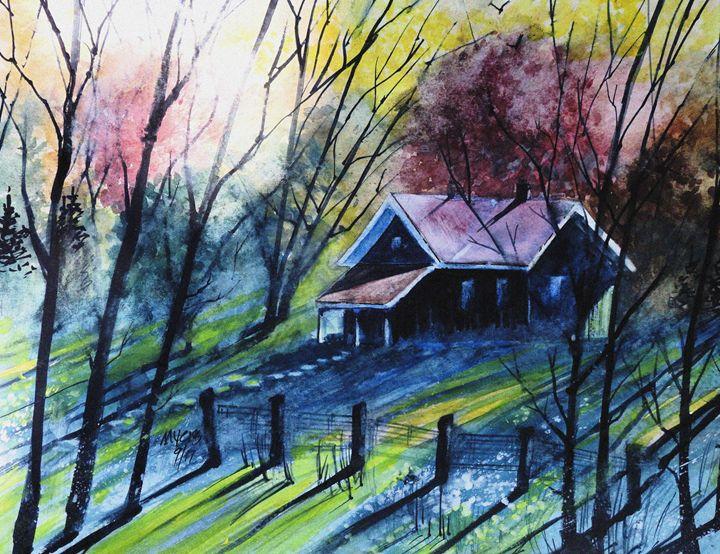 Fall Cabin Sunset, Watercolor - David K. Myers Watercolor/ Photo Gallery