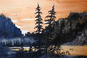 Canyon Trees, Watercolor