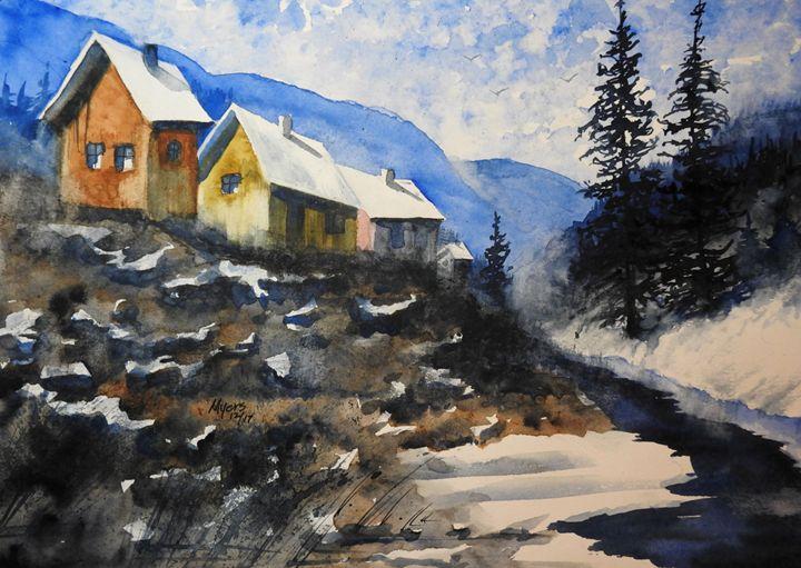 Winter Creek Cabins Watercolor - David K. Myers Watercolor/ Photo Gallery