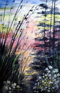 Misty Path, Watercolor