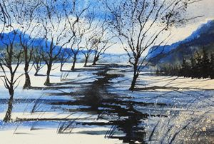 Winter River 2, Watercolor