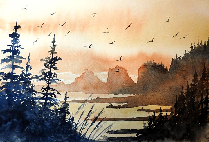 Bird Heaven, Watercolor - David K. Myers Watercolor/ Photo Gallery