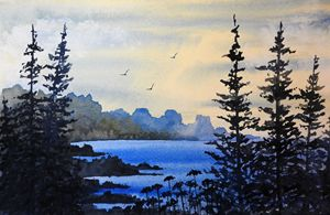 Rocky Beach, Watercolor