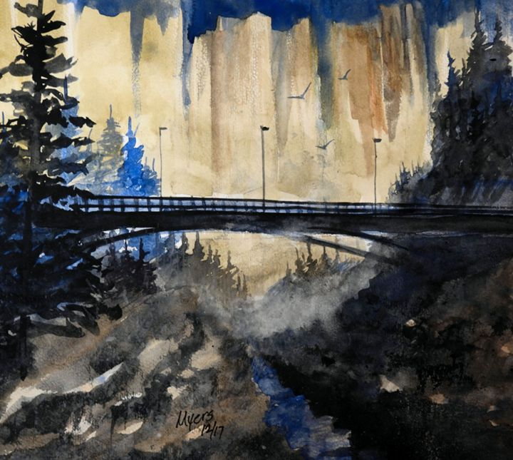 Bridge View Watercolor - David K. Myers Watercolor/ Photo Gallery