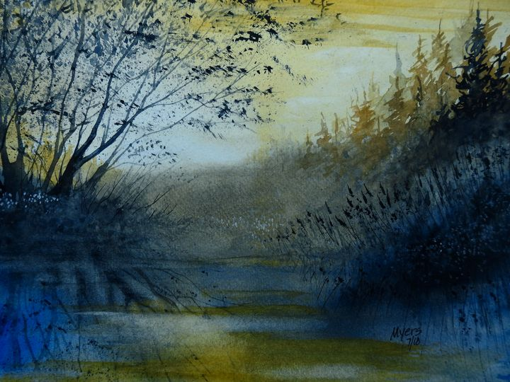 Pond Fishing Watercolor - David K. Myers Watercolor/ Photo Gallery