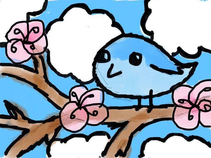 Bluebird on a Branch - Ping's Art