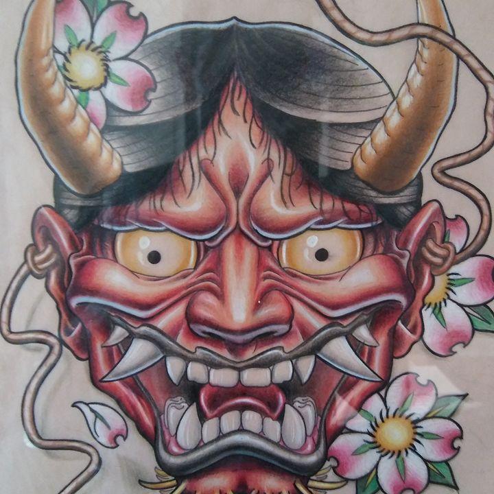 Oni mask - Aaron Mountjoy Art