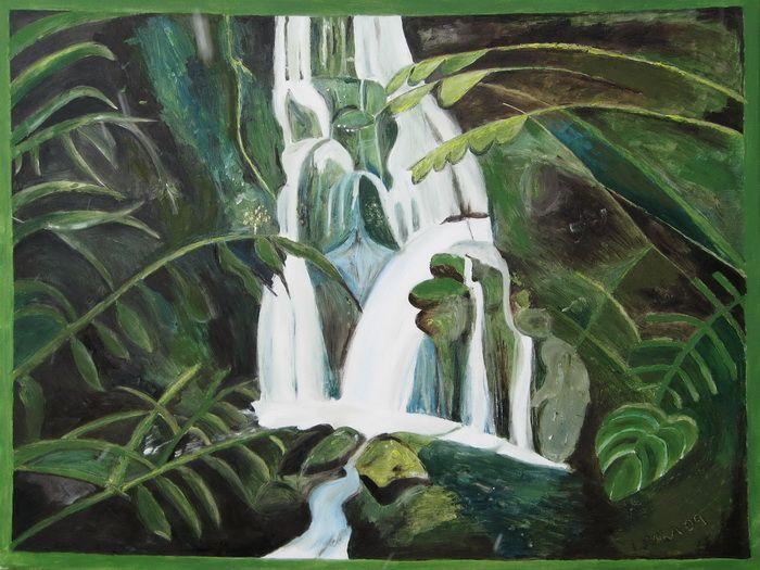Green Tropical Waterfall - Lenka Graner's Paintings