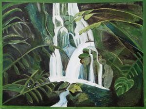 Green Tropical Waterfall
