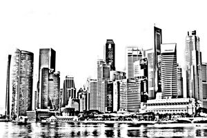 Singapore City Skyline Sketch - KCBlack&White