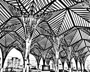 Lisbon Train Station Sketch - KCBlack&White