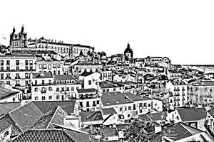 Lisbon Portugal city skyline sketch - KCBlack&White