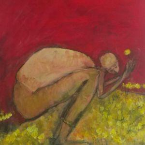 Crouching Man Picking Dandilions