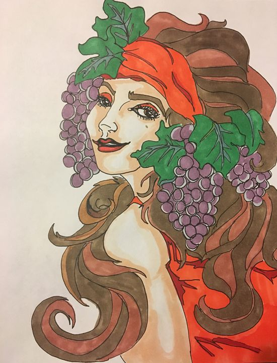 Woman with grapes - Lauren Landry