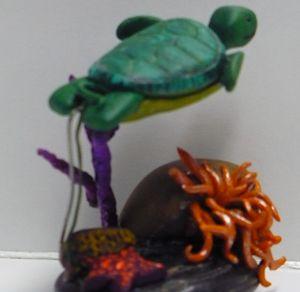 Sea Turtle Swimming Over Sea Anemone
