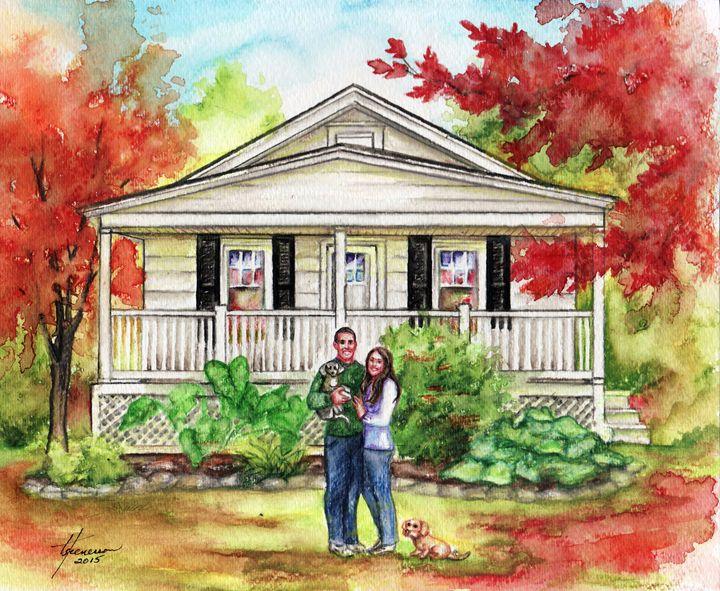 "Custom House Portrait 8"" x 10"" - Fine Art by Tina"