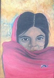 Oil on Canvas : Poor Girl on Street