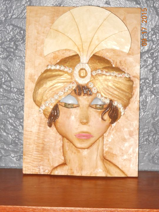 carved art deco woman - RSPeck