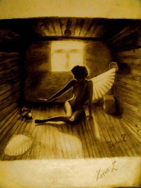 Charcoal Drawing Fallen Angel - Zachariah Zerin
