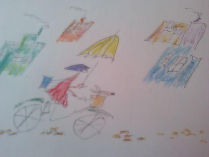 Bike Girl - John Blandly Art