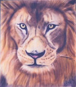 Lion airbrushed art