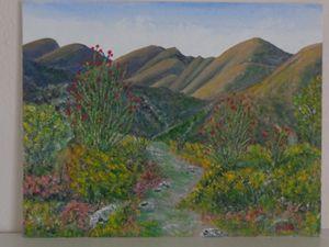 Blooming desert mountain