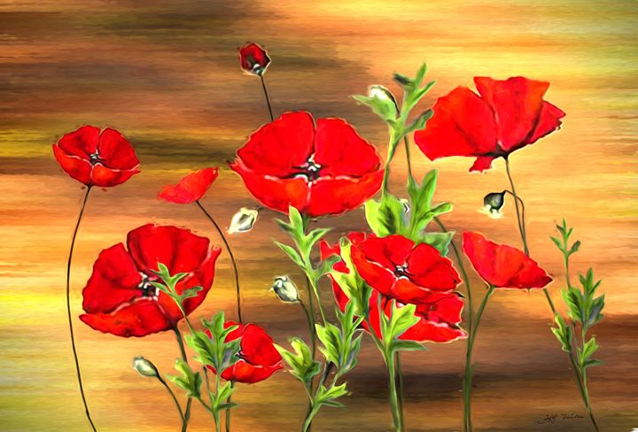 Red Poppy Flowers Painting on Wood - hgmielke