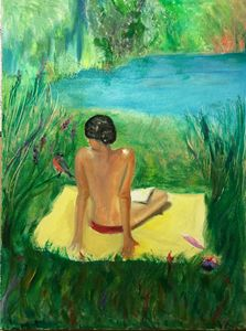 Oil on canvas Lady taking sun