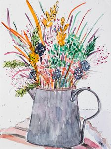 Watering can with dried flowers