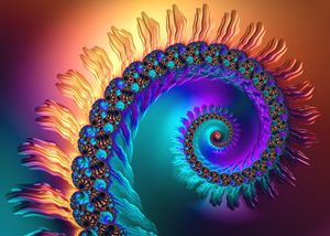 Colorful luxe fractal spiral