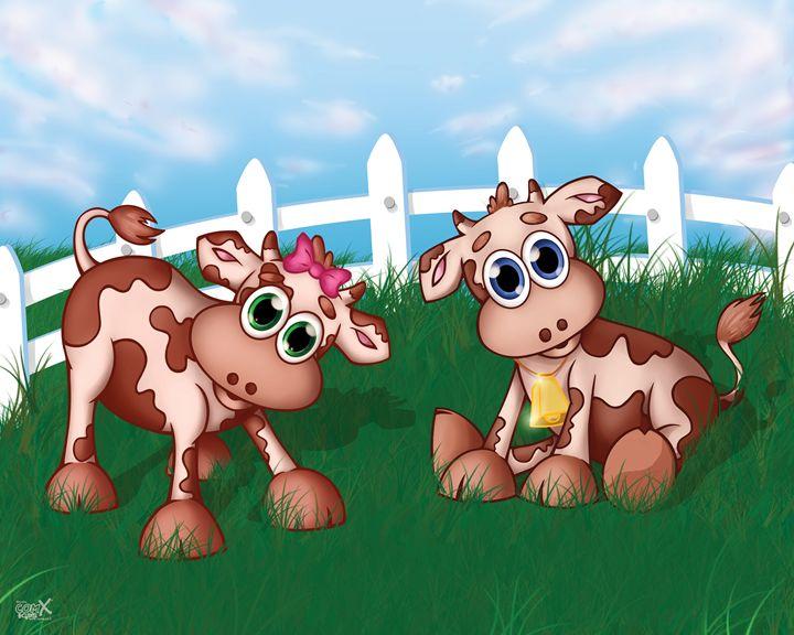 Baby Cows In Pasture - Studio ComX