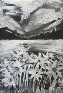 Acrylic Black and White Flowers