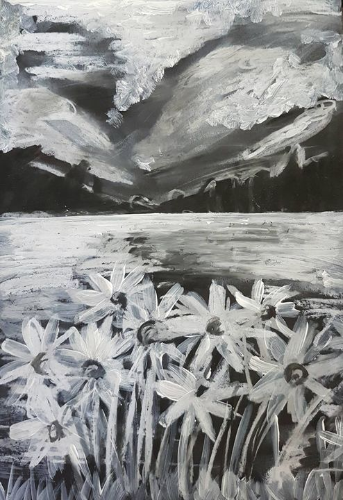 Acrylic Black and White Flowers - Bee Harris