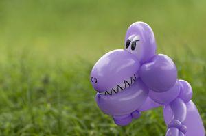 Closeup of purple balloon animal din