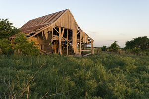 Decaying barn in a field at sunset