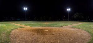 Panorama of empty baseball field at