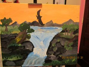 Original Sunrise Waterfall painting