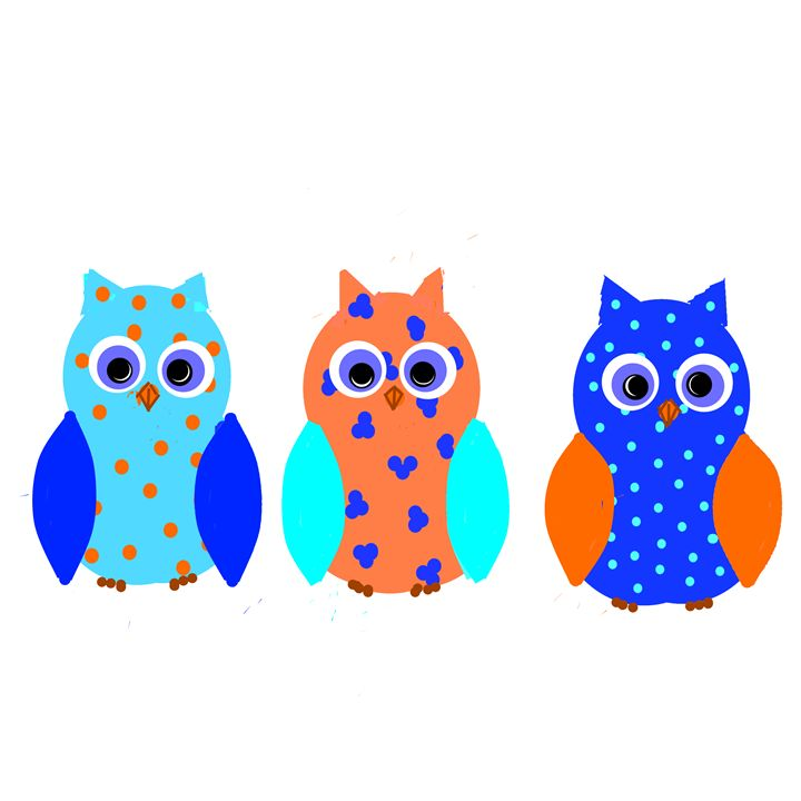 Three Cute Owls - Artist Janet Davies
