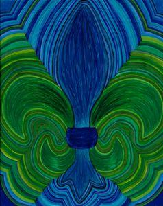 fleur-de-lis, blue and green
