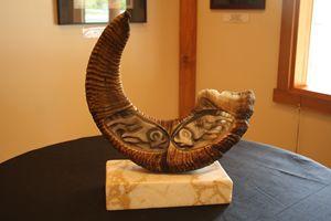 Carved Sheep Horn on Yalakomite Base
