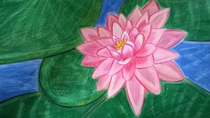 A FLOATING PINK LOTUS FLOWER