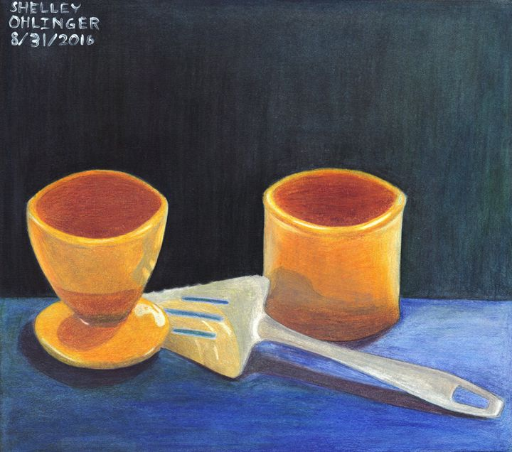 Objects on Blue Table - Shelley Ohlinger