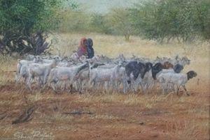 Girls keeping Goats