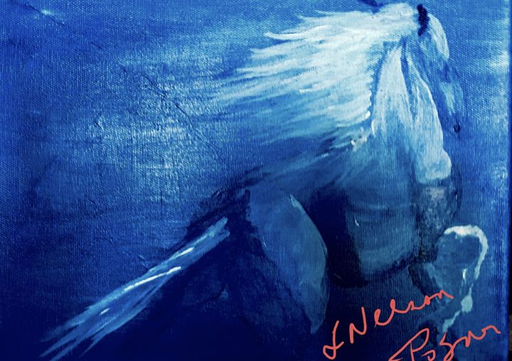 Blue Horse - Spiritual Art by Laurie