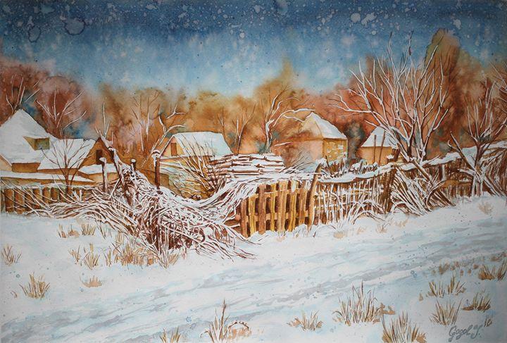 Old fence, winter landscape - Julia Gogol Art