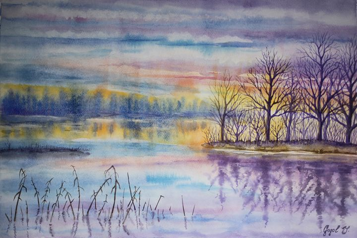 Waiting of winter - watercolor - Julia Gogol Art