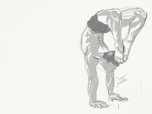 Sketch of a male figure.