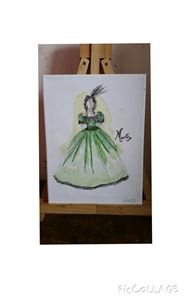 Victorian era evening gown painted