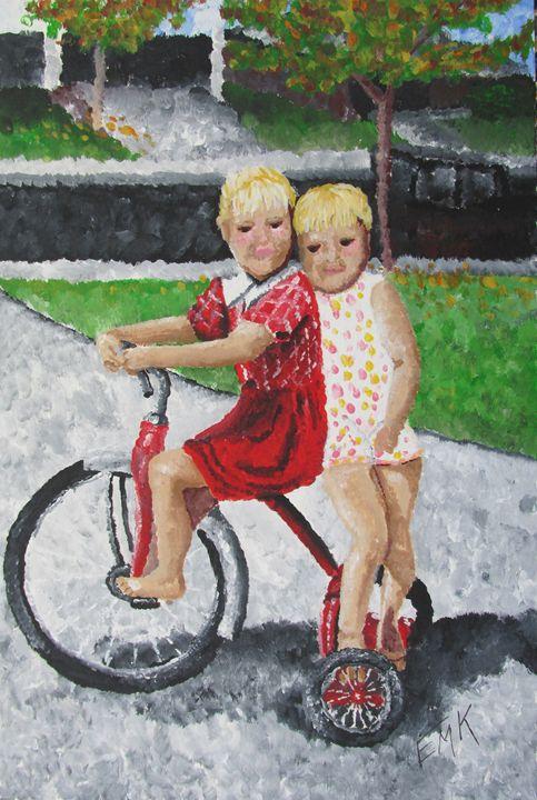 Bike Ride With A Friend - EdieMarie's Art
