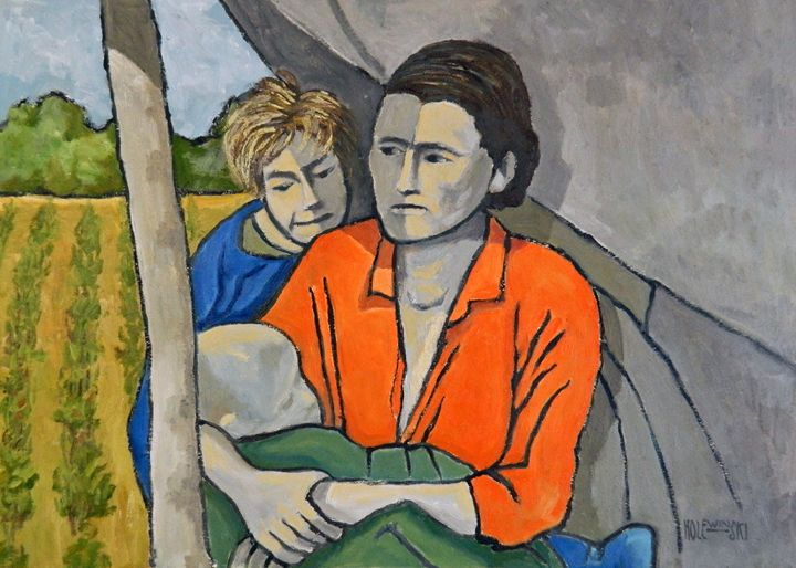 Migrant Family Under Tarp - Holewinski